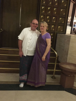 My Husband Aidan and myself in our Sri Lankan outfits