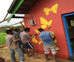 Butterflies being painted