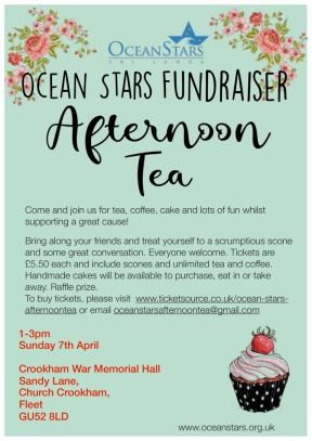 Afternoon tea will be held on the 7th of April at 1-3pm at Crookham Memorial Hall