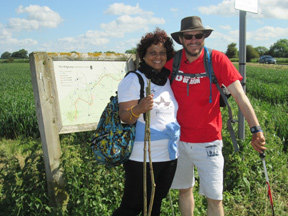 Dilanee and Philip pause for a photo on Monarches Way, near Chipping Sodbury