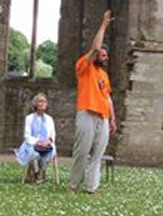 Philip performs his poetry with Virginia McKenna at Tintern Abbey