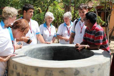 At the new well in Sri Lanka