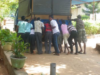 Pushing lorry in Sri Lanka