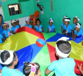 Choose a parachute or bubbles for the pre-school children in Sri Lanka to enjoy